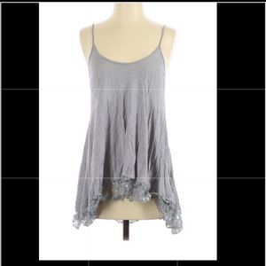 Gray knit tank with lace edging